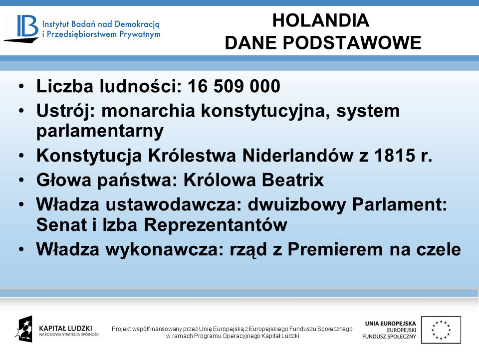 HOLANDIA DANE PODSTAWOWE