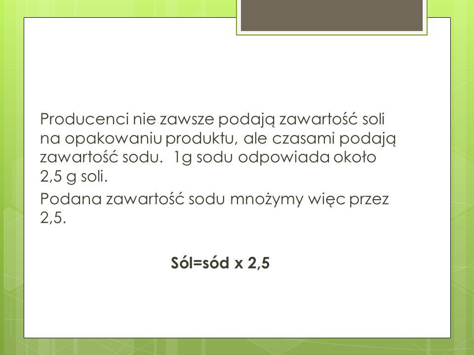 Producenci nie zawsze podają zawartość soli na opakowaniu produktu, ale czasami podają zawartość sodu.