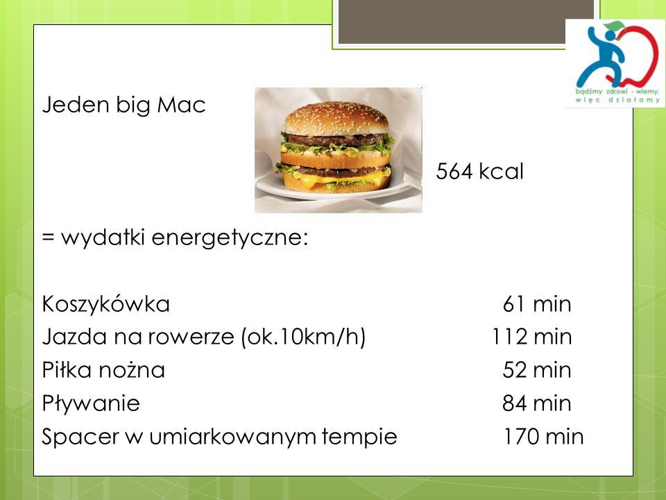 Jeden big Mac 564 kcal. = wydatki energetyczne: Koszykówka 61 min. Jazda na rowerze (ok.10km/h) 112 min.