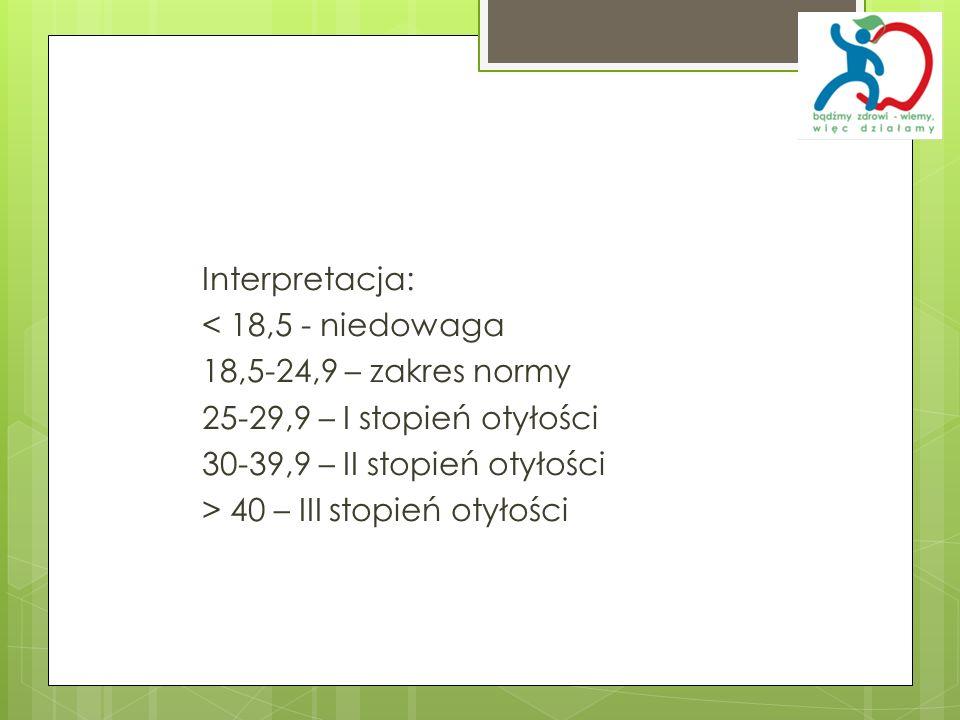Interpretacja:< 18,5 - niedowaga. 18,5-24,9 – zakres normy. 25-29,9 – I stopień otyłości. 30-39,9 – II stopień otyłości.