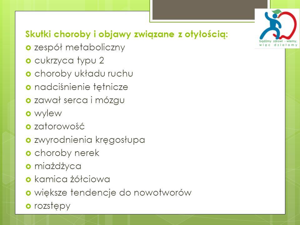 Skutki choroby i objawy związane z otyłością: