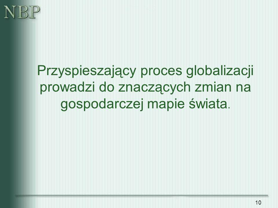 Przyspieszający proces globalizacji prowadzi do znaczących zmian na gospodarczej mapie świata.
