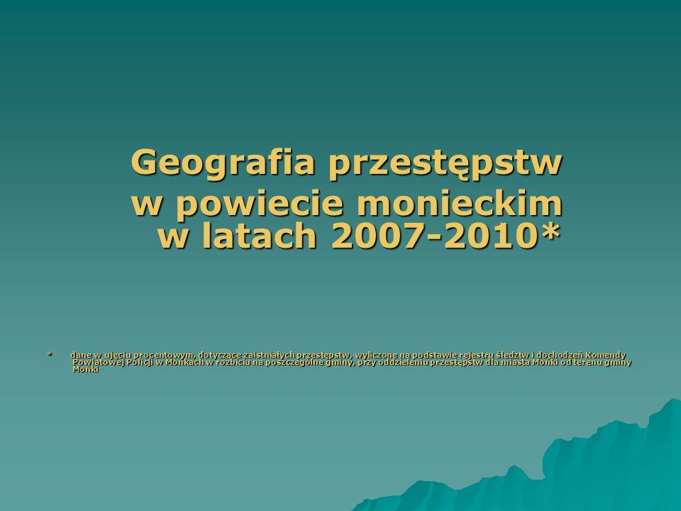 Geografia przestępstw w powiecie monieckim w latach 2007-2010*