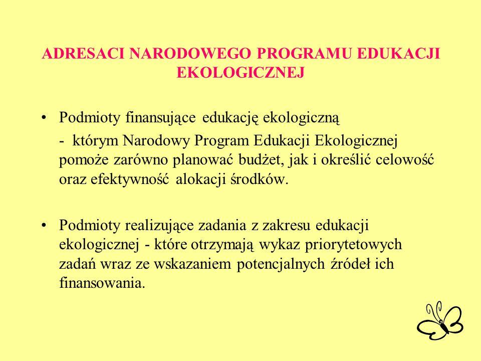 ADRESACI NARODOWEGO PROGRAMU EDUKACJI EKOLOGICZNEJ