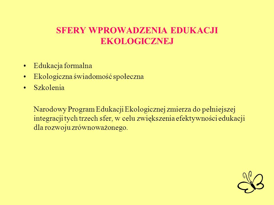 SFERY WPROWADZENIA EDUKACJI EKOLOGICZNEJ