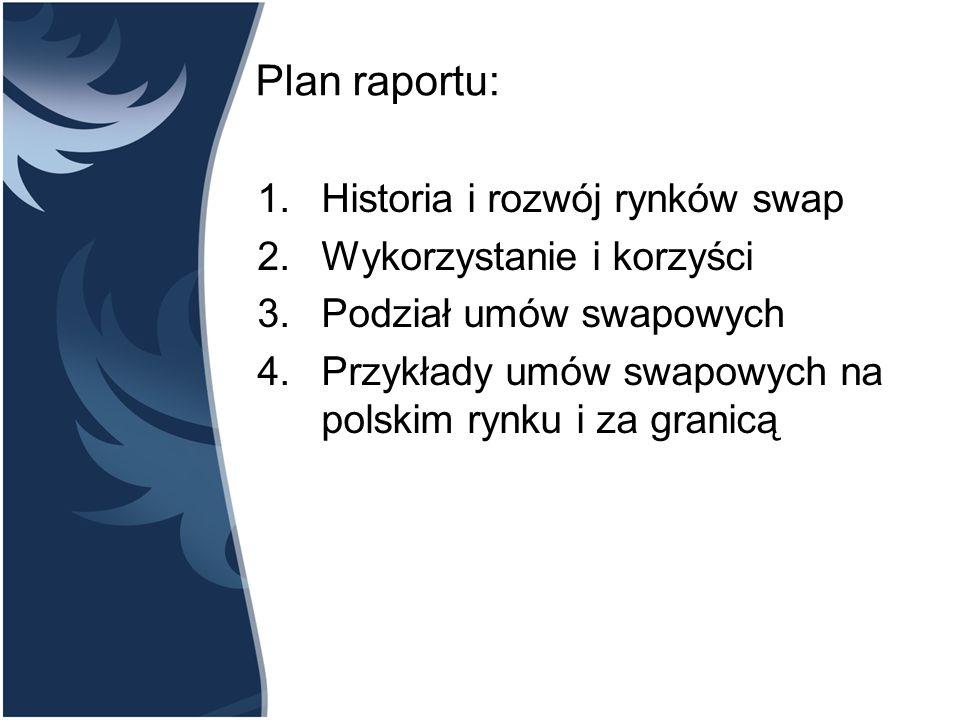 Plan raportu: Historia i rozwój rynków swap Wykorzystanie i korzyści