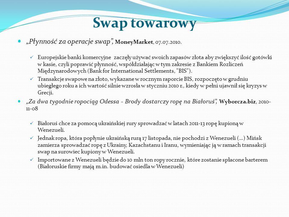 """Swap towarowy """"Płynność za operacje swap , MoneyMarket, 07.07.2010."""