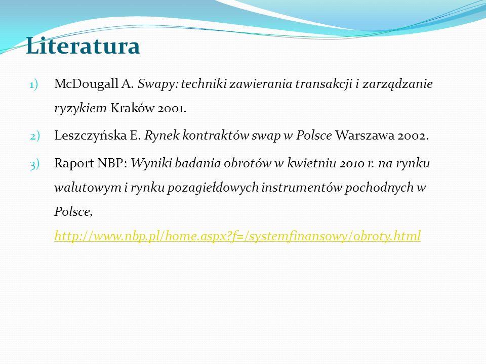 Literatura McDougall A. Swapy: techniki zawierania transakcji i zarządzanie ryzykiem Kraków 2001.