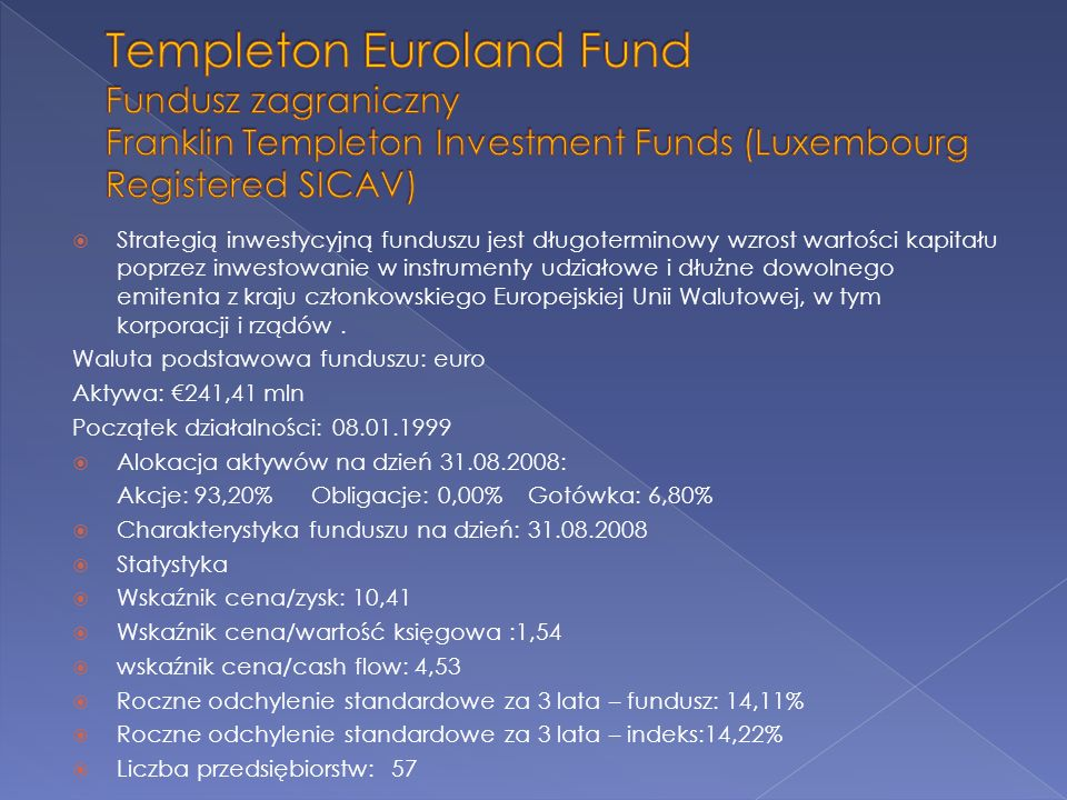Templeton Euroland Fund Fundusz zagraniczny Franklin Templeton Investment Funds (Luxembourg Registered SICAV)