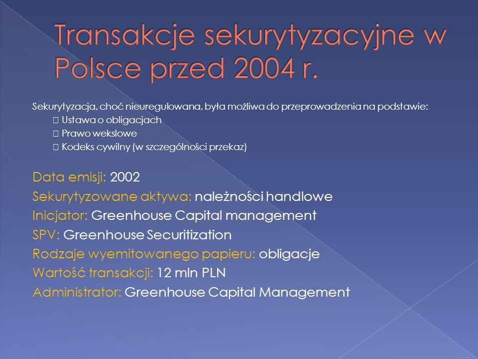 Transakcje sekurytyzacyjne w Polsce przed 2004 r.
