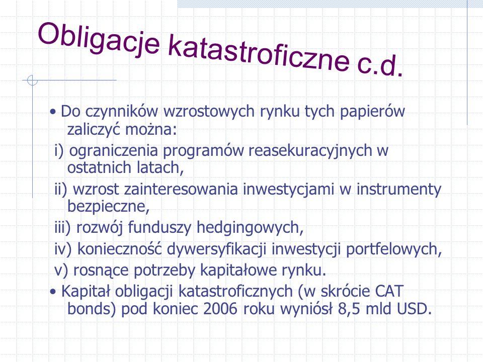 Obligacje katastroficzne c.d.
