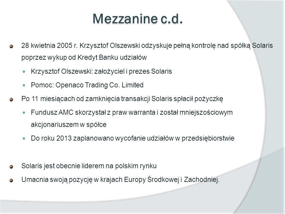 Mezzanine c.d. 28 kwietnia 2005 r. Krzysztof Olszewski odzyskuje pełną kontrolę nad spółką Solaris poprzez wykup od Kredyt Banku udziałów.