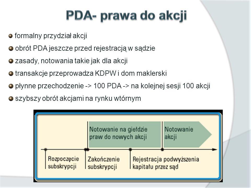 PDA- prawa do akcji obrót PDA jeszcze przed rejestracją w sądzie