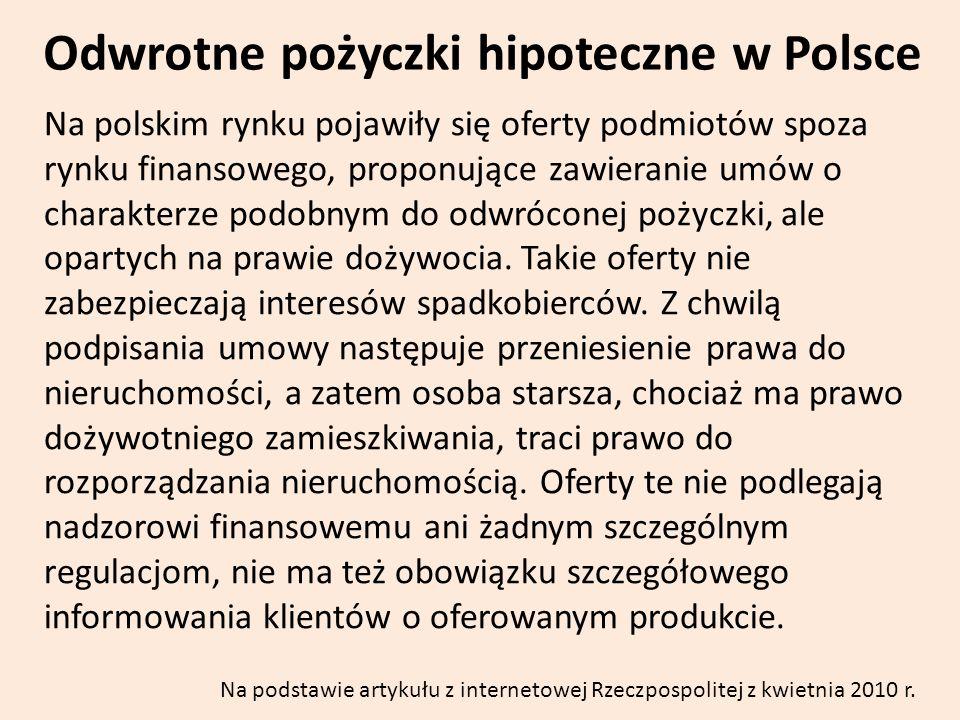 Odwrotne pożyczki hipoteczne w Polsce