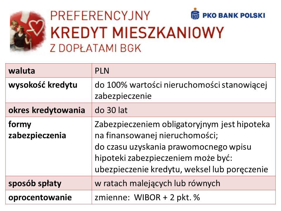 waluta PLN. wysokość kredytu. do 100% wartości nieruchomości stanowiącej zabezpieczenie. okres kredytowania.