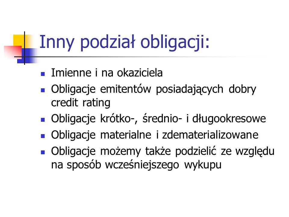 Inny podział obligacji: