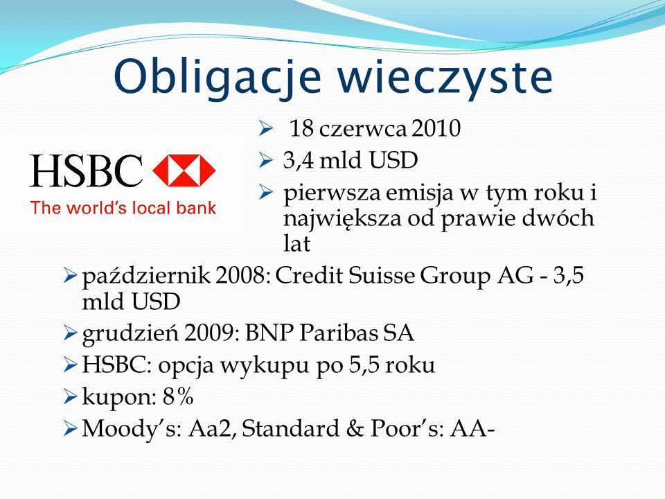 Obligacje wieczyste 18 czerwca 2010 3,4 mld USD