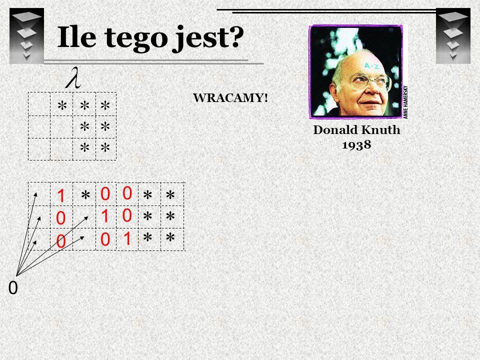 Ile tego jest Donald Knuth 1938 WRACAMY! * * * 1 1 * * * * 1