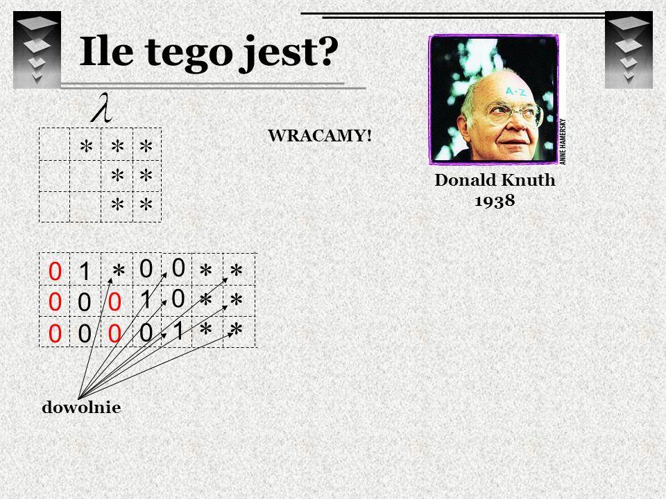 Ile tego jest Donald Knuth 1938 WRACAMY! * * * 1 dowolnie * * 1 * * 1