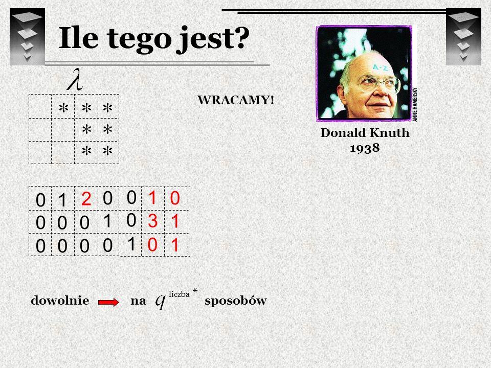 Ile tego jest 1 2 1 1 3 1 1 1 Donald Knuth 1938 WRACAMY! dowolnie na