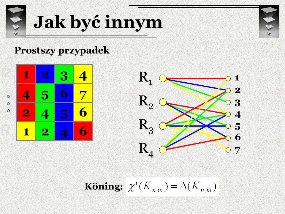 Jak być innym Prostszy przypadek. R1. 1. 2. 3. 4. R1. R2. R3. R4. 1. 2. 3. 4. 5. 6. 7.