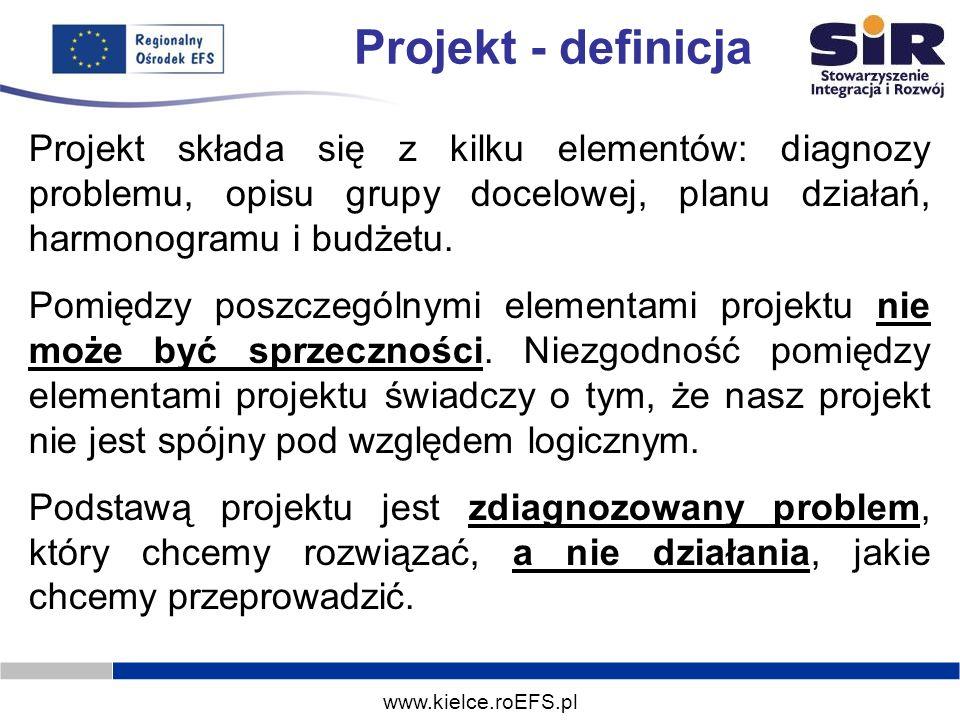 Projekt - definicja Projekt składa się z kilku elementów: diagnozy problemu, opisu grupy docelowej, planu działań, harmonogramu i budżetu.