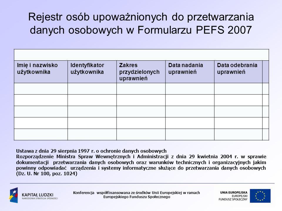 Rejestr osób upoważnionych do przetwarzania danych osobowych w Formularzu PEFS 2007