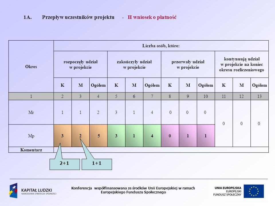 1A. Przepływ uczestników projektu - II wniosek o płatność