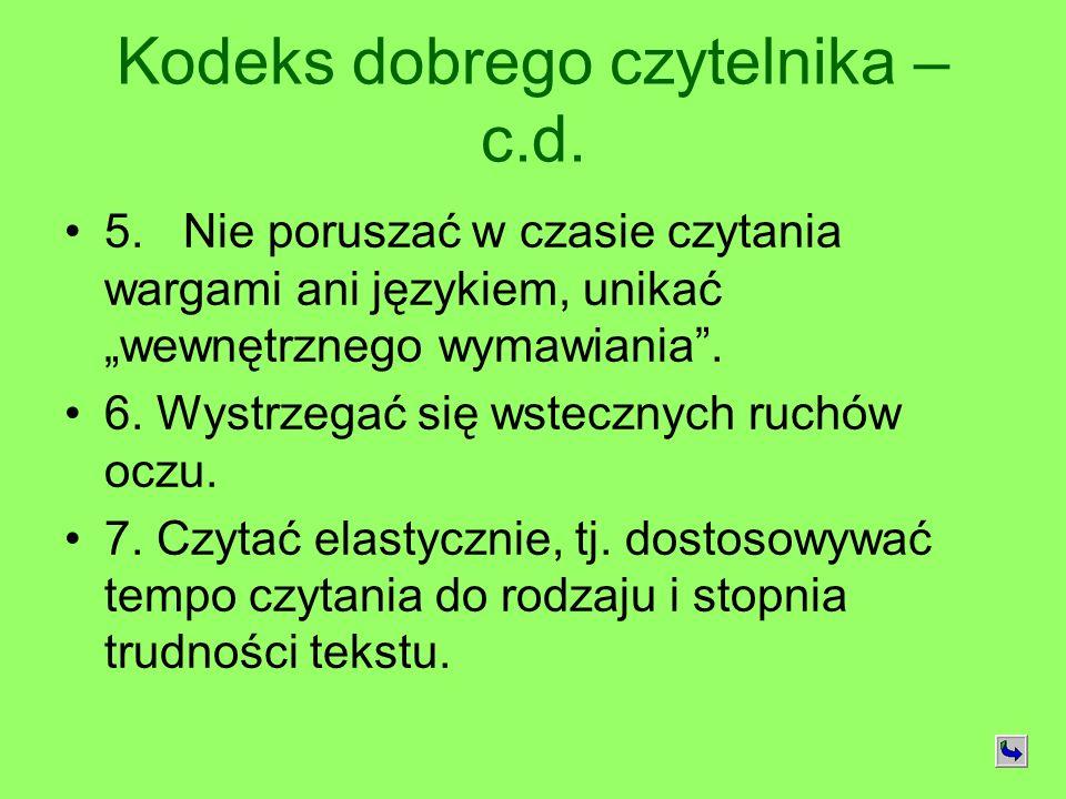 Kodeks dobrego czytelnika – c.d.