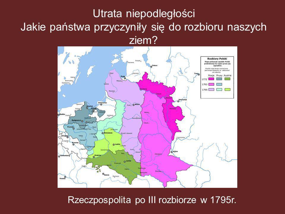 Utrata niepodległości Jakie państwa przyczyniły się do rozbioru naszych ziem