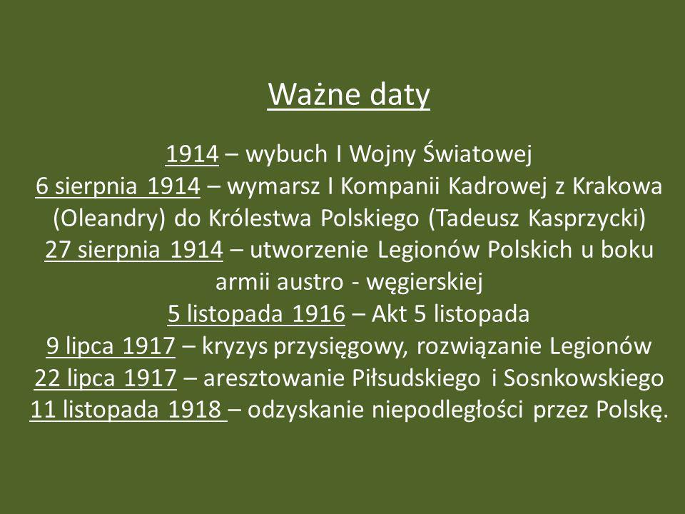 Ważne daty 1914 – wybuch I Wojny Światowej 6 sierpnia 1914 – wymarsz I Kompanii Kadrowej z Krakowa (Oleandry) do Królestwa Polskiego (Tadeusz Kasprzycki) 27 sierpnia 1914 – utworzenie Legionów Polskich u boku armii austro - węgierskiej 5 listopada 1916 – Akt 5 listopada 9 lipca 1917 – kryzys przysięgowy, rozwiązanie Legionów 22 lipca 1917 – aresztowanie Piłsudskiego i Sosnkowskiego 11 listopada 1918 – odzyskanie niepodległości przez Polskę.