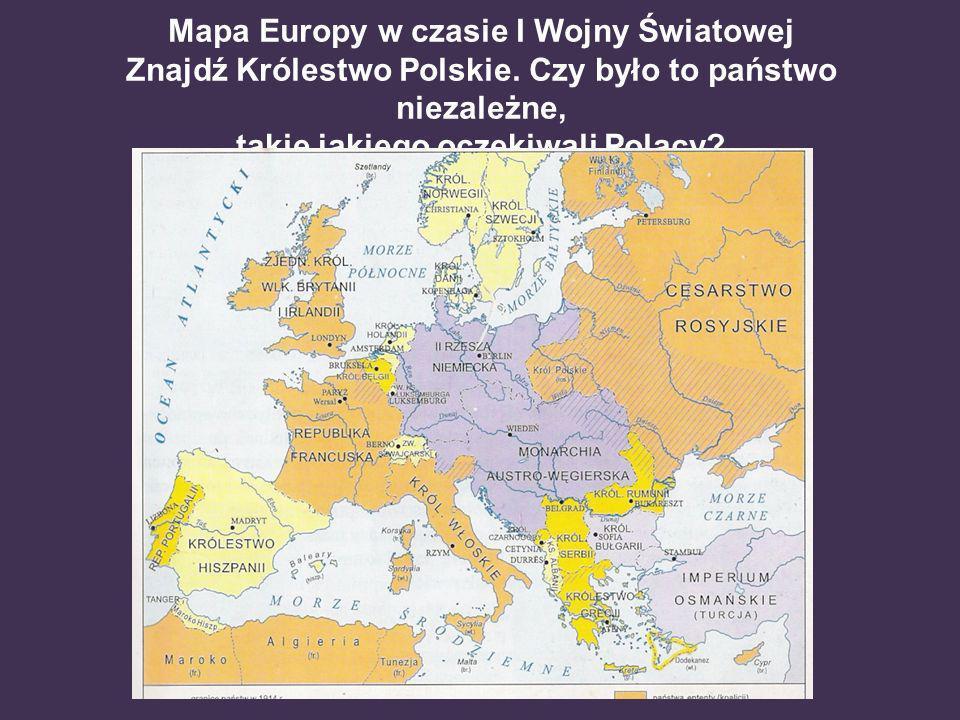 Mapa Europy w czasie I Wojny Światowej Znajdź Królestwo Polskie