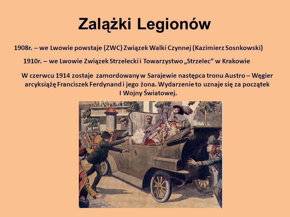Zalążki Legionów1908r. – we Lwowie powstaje (ZWC) Związek Walki Czynnej (Kazimierz Sosnkowski)