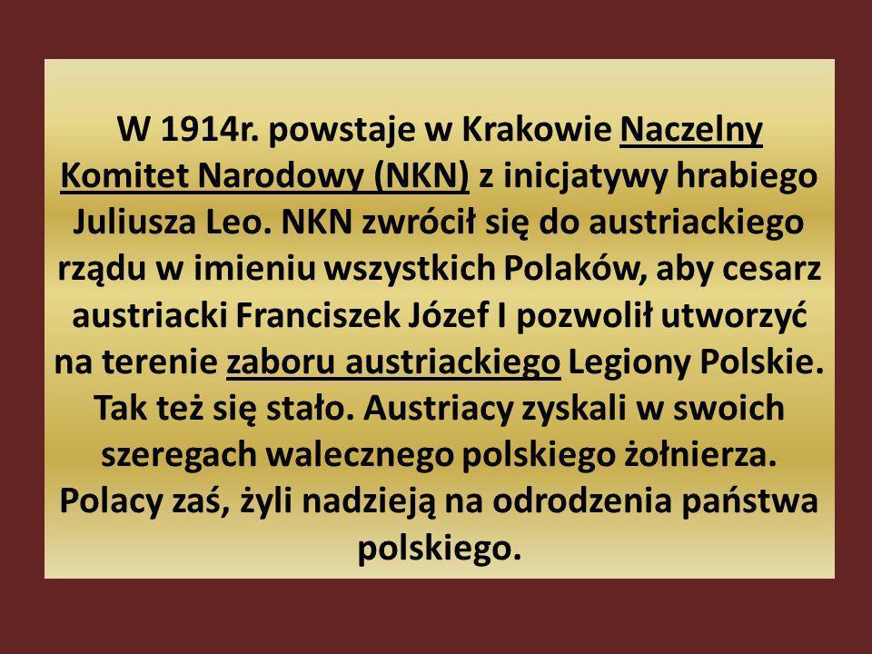 W 1914r.powstaje w Krakowie Naczelny Komitet Narodowy (NKN) z inicjatywy hrabiego Juliusza Leo.