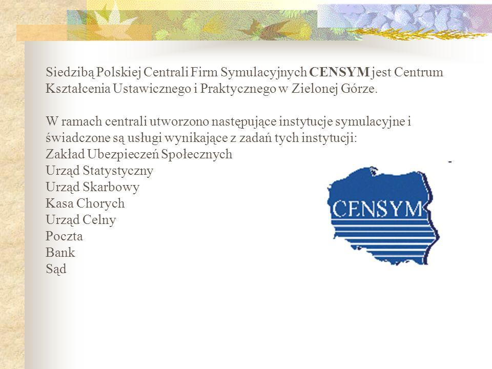 Siedzibą Polskiej Centrali Firm Symulacyjnych CENSYM jest Centrum Kształcenia Ustawicznego i Praktycznego w Zielonej Górze.