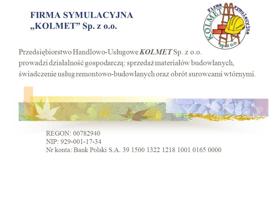 """FIRMA SYMULACYJNA """"KOLMET Sp. z o.o."""