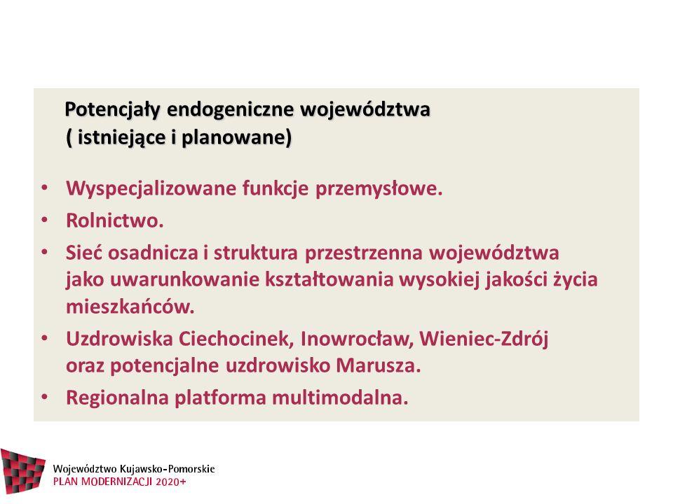 Potencjały endogeniczne województwa ( istniejące i planowane)
