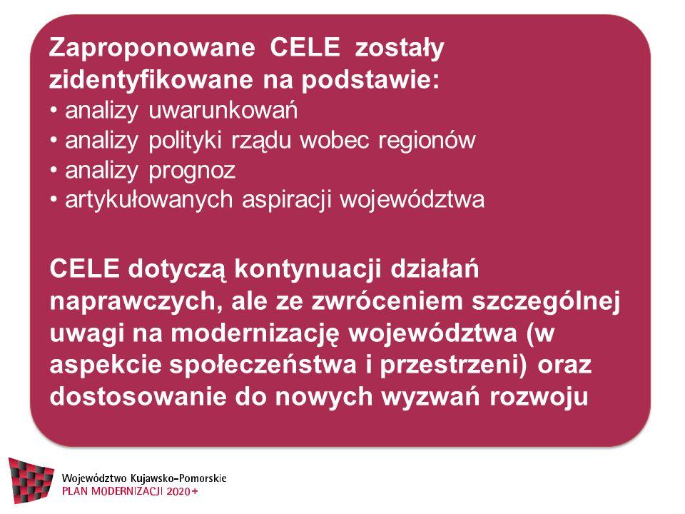 Zaproponowane CELE zostały zidentyfikowane na podstawie: