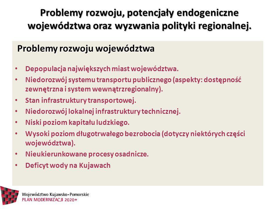 Problemy rozwoju, potencjały endogeniczne województwa oraz wyzwania polityki regionalnej.