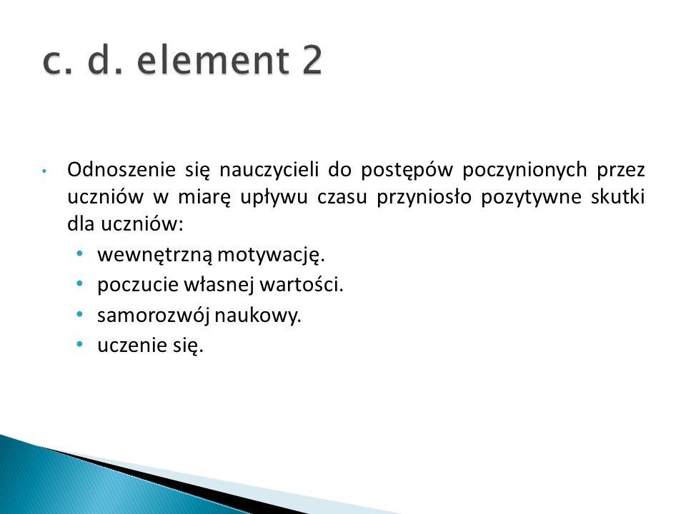 c. d. element 2 Odnoszenie się nauczycieli do postępów poczynionych przez uczniów w miarę upływu czasu przyniosło pozytywne skutki dla uczniów: