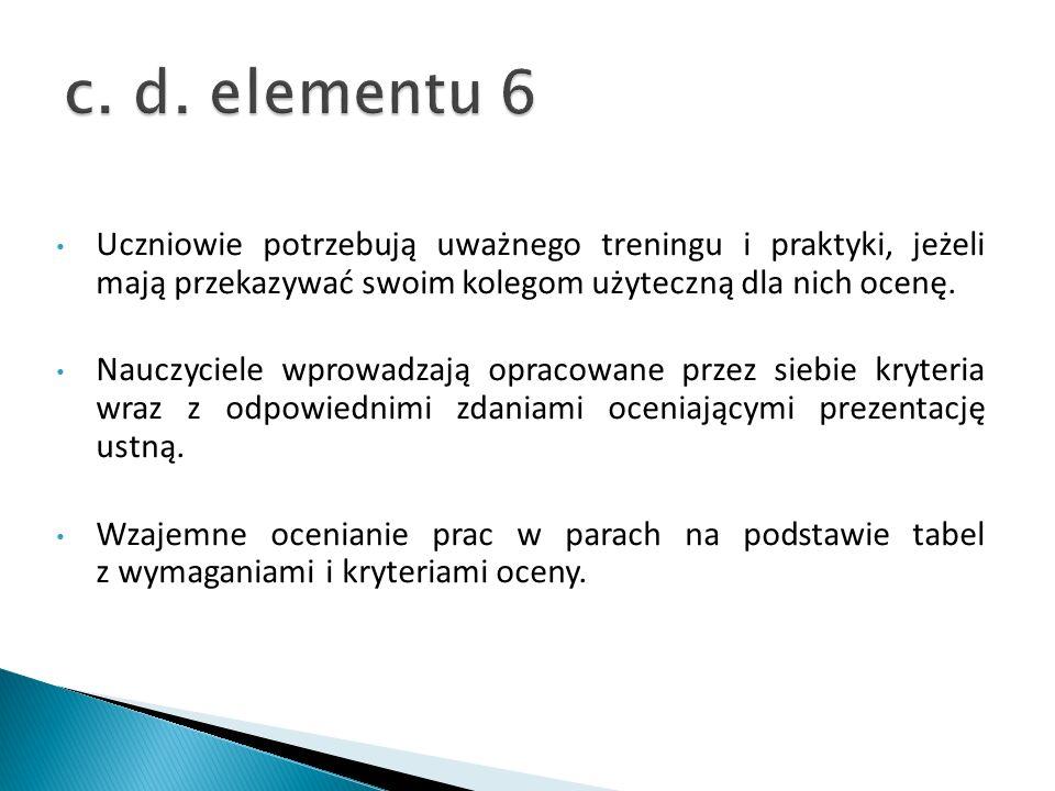 c. d. elementu 6Uczniowie potrzebują uważnego treningu i praktyki, jeżeli mają przekazywać swoim kolegom użyteczną dla nich ocenę.