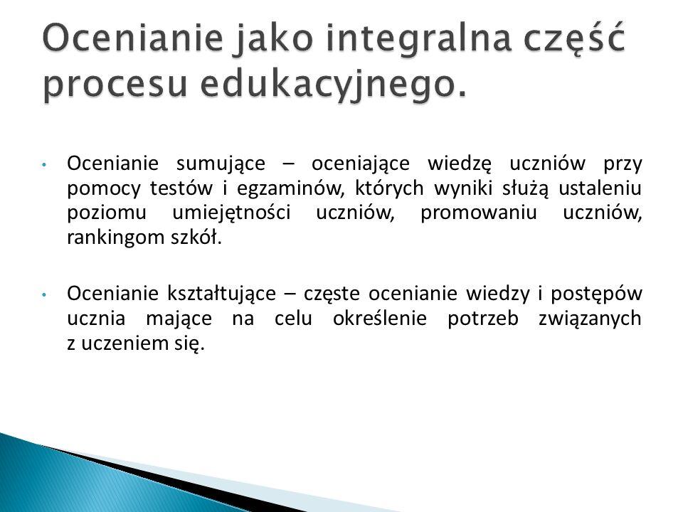 Ocenianie jako integralna część procesu edukacyjnego.