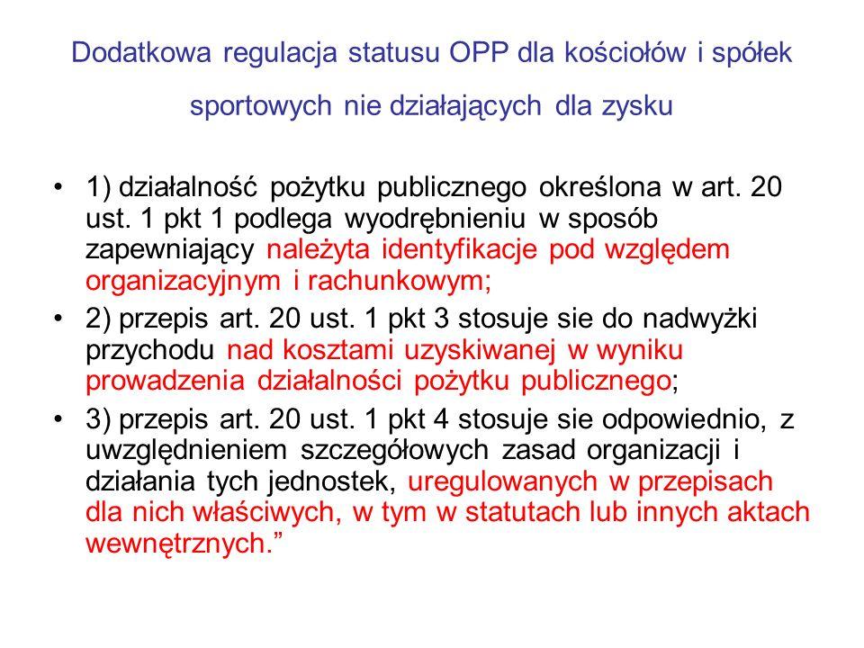 Dodatkowa regulacja statusu OPP dla kościołów i spółek sportowych nie działających dla zysku
