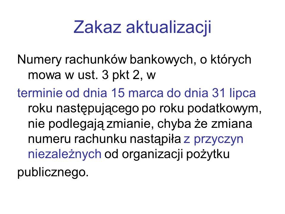 Zakaz aktualizacji Numery rachunków bankowych, o których mowa w ust. 3 pkt 2, w.
