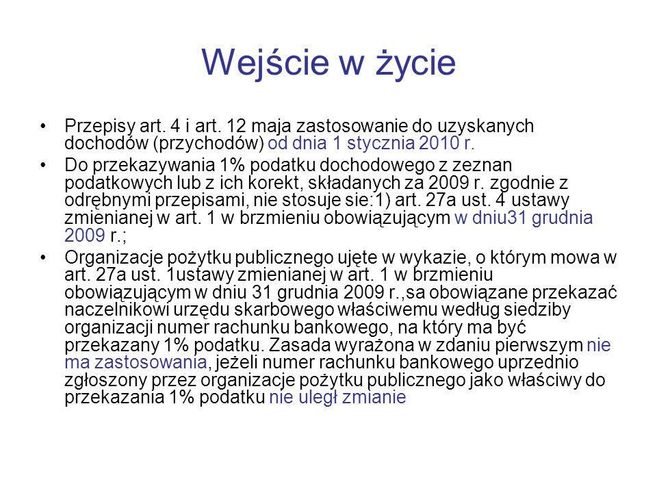 Wejście w życie Przepisy art. 4 i art. 12 maja zastosowanie do uzyskanych dochodów (przychodów) od dnia 1 stycznia 2010 r.