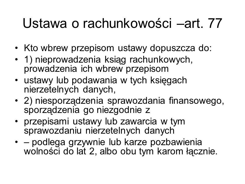 Ustawa o rachunkowości –art. 77