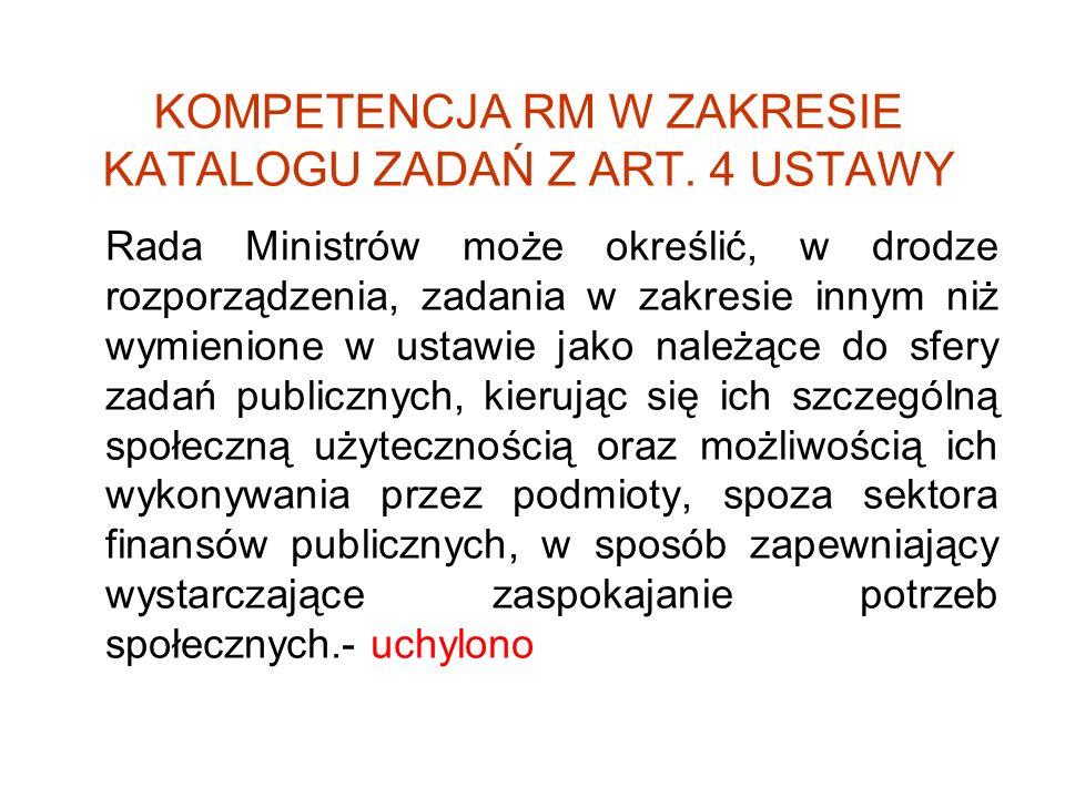 KOMPETENCJA RM W ZAKRESIE KATALOGU ZADAŃ Z ART. 4 USTAWY