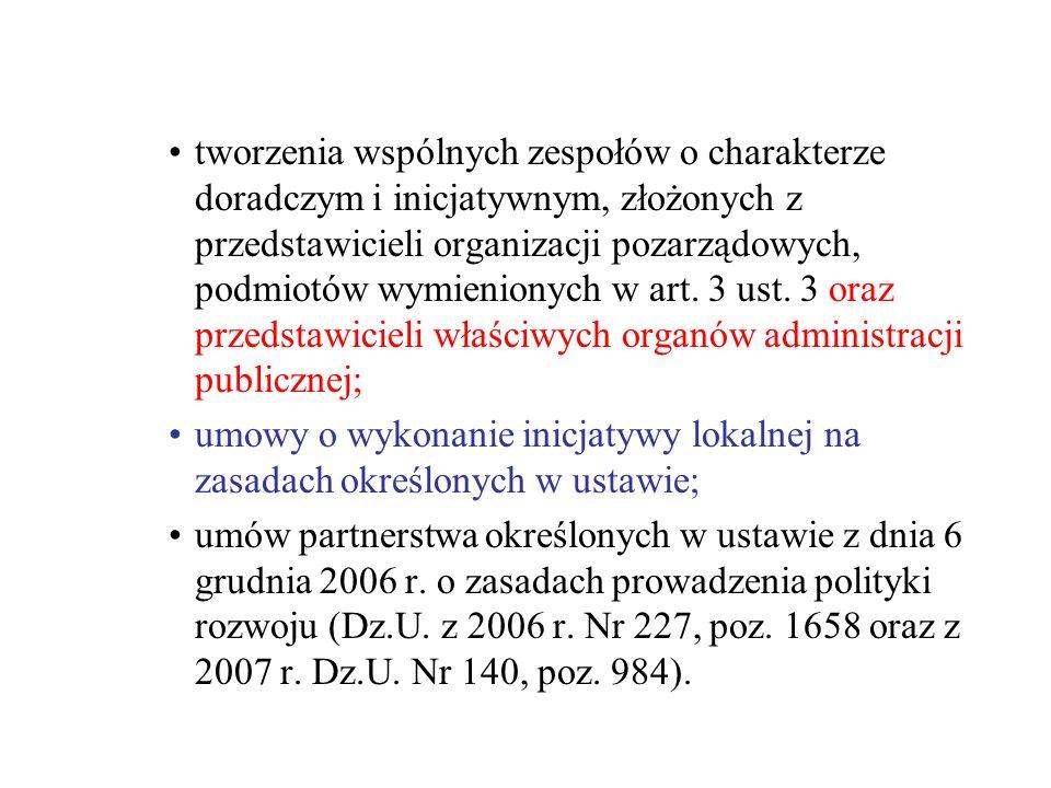 tworzenia wspólnych zespołów o charakterze doradczym i inicjatywnym, złożonych z przedstawicieli organizacji pozarządowych, podmiotów wymienionych w art. 3 ust. 3 oraz przedstawicieli właściwych organów administracji publicznej;