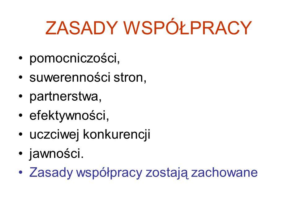 ZASADY WSPÓŁPRACY pomocniczości, suwerenności stron, partnerstwa,