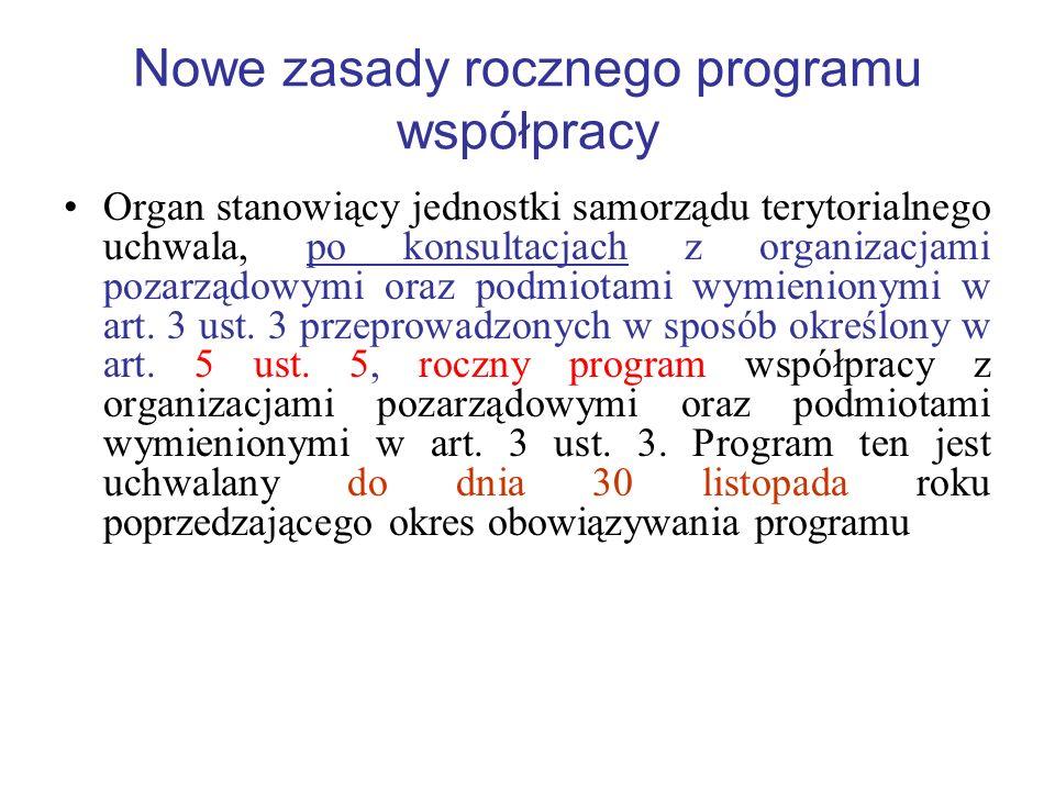 Nowe zasady rocznego programu współpracy